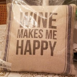 Shabby Chic Accent Pillow w/ Wine Centric Epithet